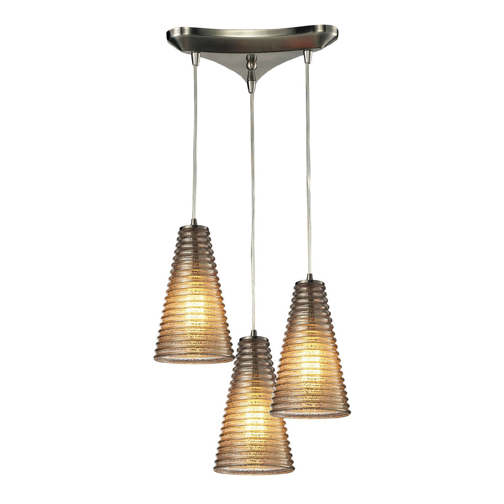 Elk 10333 3 ribbed glass modern satin nickel multi hanging for Modern hanging pendant lights