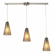 ELK 10333-3L Ribbed Glass Contemporary Satin Nickel Multi Hanging Pendant Light