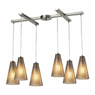 ELK 10333-6 Ribbed Glass Modern Satin Nickel Multi Pendant Hanging Light