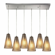 ELK 10333-6RC Ribbed Glass Contemporary Satin Nickel Multi Hanging Light Fixture