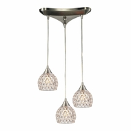 ELK 10341-3 Kersey Satin Nickel Halogen Multi Pendant Lighting Fixture