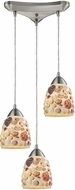 ELK 10412-3 Shells Contemporary Satin Nickel Multi Ceiling Pendant Light