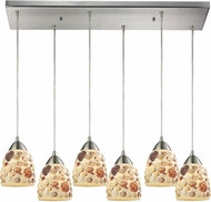 ELK 10412-6RC Shells Modern Satin Nickel Multi Pendant Lighting