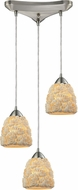 ELK 10414-3 Shells Contemporary Satin Nickel Multi Pendant Lamp