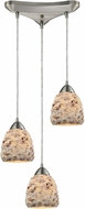 ELK 10415-3 Shells Modern Satin Nickel Multi Hanging Pendant Lighting