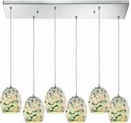 ELK 10419-6RC Shells Contemporary Satin Nickel Multi Drop Ceiling Light Fixture