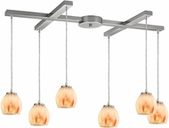 ELK 10421-6TS Melony Modern Satin Nickel Halogen Multi Hanging Pendant Light