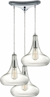 ELK 10422-3 Orbital Modern Polished Chrome Multi Hanging Light Fixture