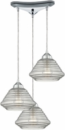 ELK 10424-3 Orbital Modern Polished Chrome Multi Pendant Light