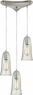 ELK 10431-3CLR Hammered Glass Contemporary Satin Nickel Multi Drop Lighting