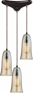 ELK 10431-3HAMP Hammered Glass Modern Oil Rubbed Bronze Multi Drop Ceiling Lighting