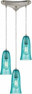 ELK 10431-3HAQ Hammered Glass Contemporary Satin Nickel Multi Ceiling Light Pendant