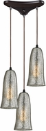 ELK 10431-3HME Hammered Glass Modern Oil Rubbed Bronze Multi Ceiling Pendant Light