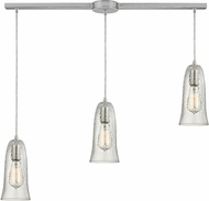 ELK 10431-3L-CLR Hammered Glass Contemporary Satin Nickel Multi Drop Ceiling Light Fixture
