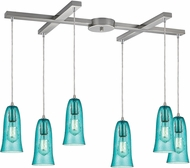 ELK 10431-6HAQ Hammered Glass Contemporary Satin Nickel Multi Hanging Lamp