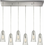 ELK 10431-6RC-CLR Hammered Glass Contemporary Satin Nickel Multi Pendant Light Fixture