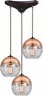 ELK 10490-3 Revelo Modern Oil Rubbed Bronze Multi Pendant Lighting Fixture