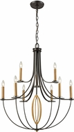 ELK 10516-6-3 Dione Oil Rubbed Bronze,Brushed Antique Brass Lighting Chandelier
