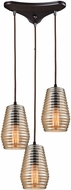 ELK 10533-3 Ribbed Glass Contemporary Oil Rubbed Bronze Multi Pendant Light Fixture