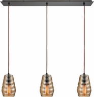 ELK 10533-3LP Ribbed Glass Modern Oil Rubbed Bronze Multi Pendant Lighting Fixture