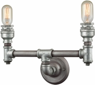ELK 10683-2 Cast Iron Pipe Modern Weathered Zinc Zinc Plating 2-Light Bathroom Lighting
