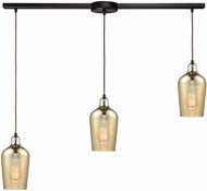 ELK 10840-3L Hammered Glass Contemporary Oil Rubbed Bronze Multi Pendant Hanging Light
