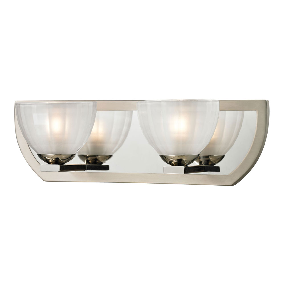 Elk 11596 2 sculptive modern polished nickel matte nickel for Contemporary bathroom vanity lighting