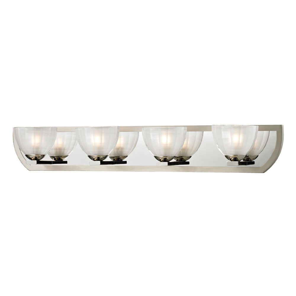 Halogen Lights For Vanity : ELK 11598-4 Sculptive Modern Polished Nickel/Matte Nickel Halogen 4-Light Bathroom Vanity Light ...