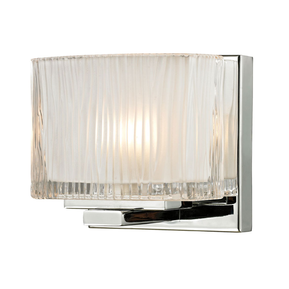 Contemporary Chrome Wall Sconces : ELK 11620-1 Chiseled Glass Contemporary Polished Chrome Halogen Wall Sconce Lighting - ELK-11620-1