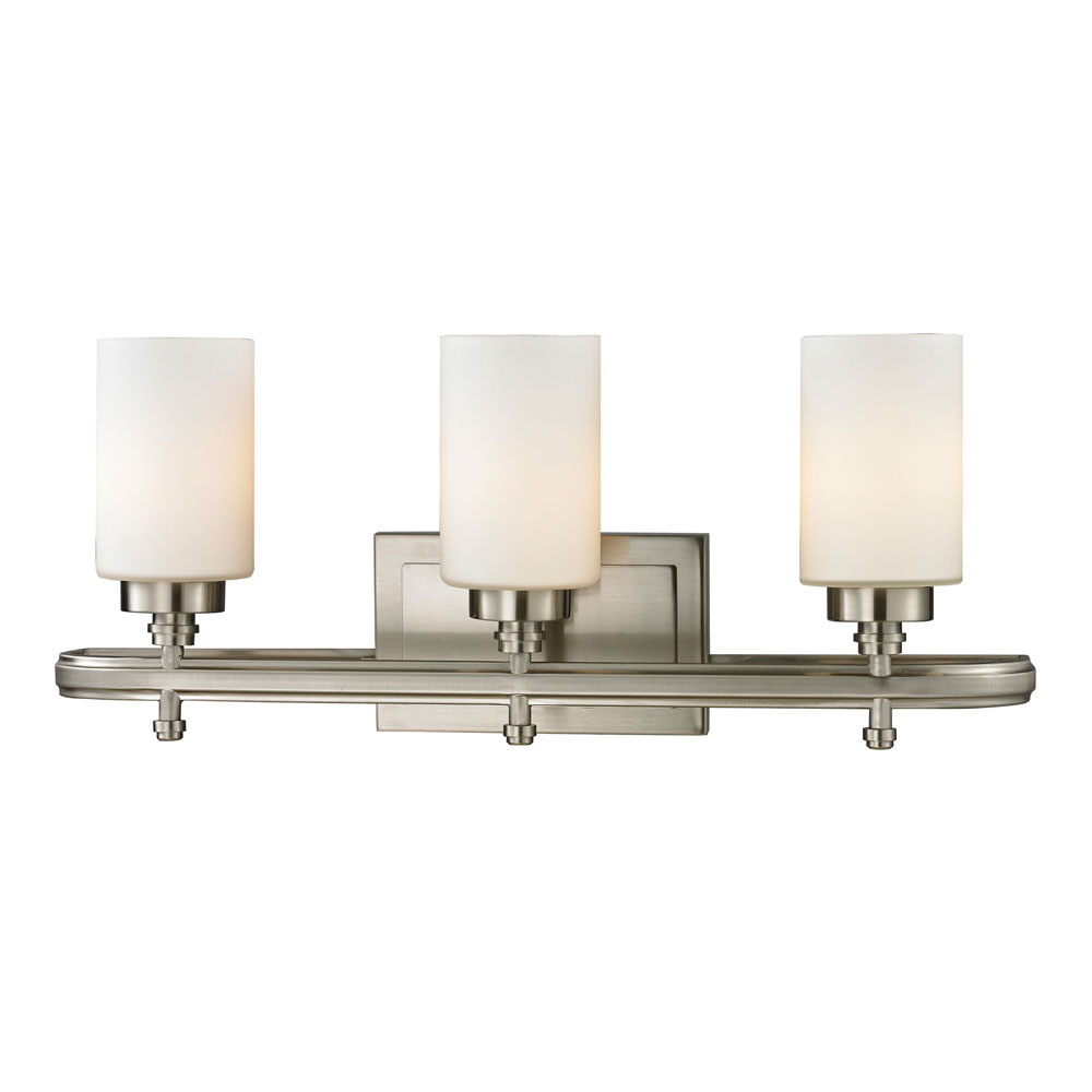 Elk 11662 3 dawson brushed nickel 3 light bath light for Bathroom 3 light fixtures