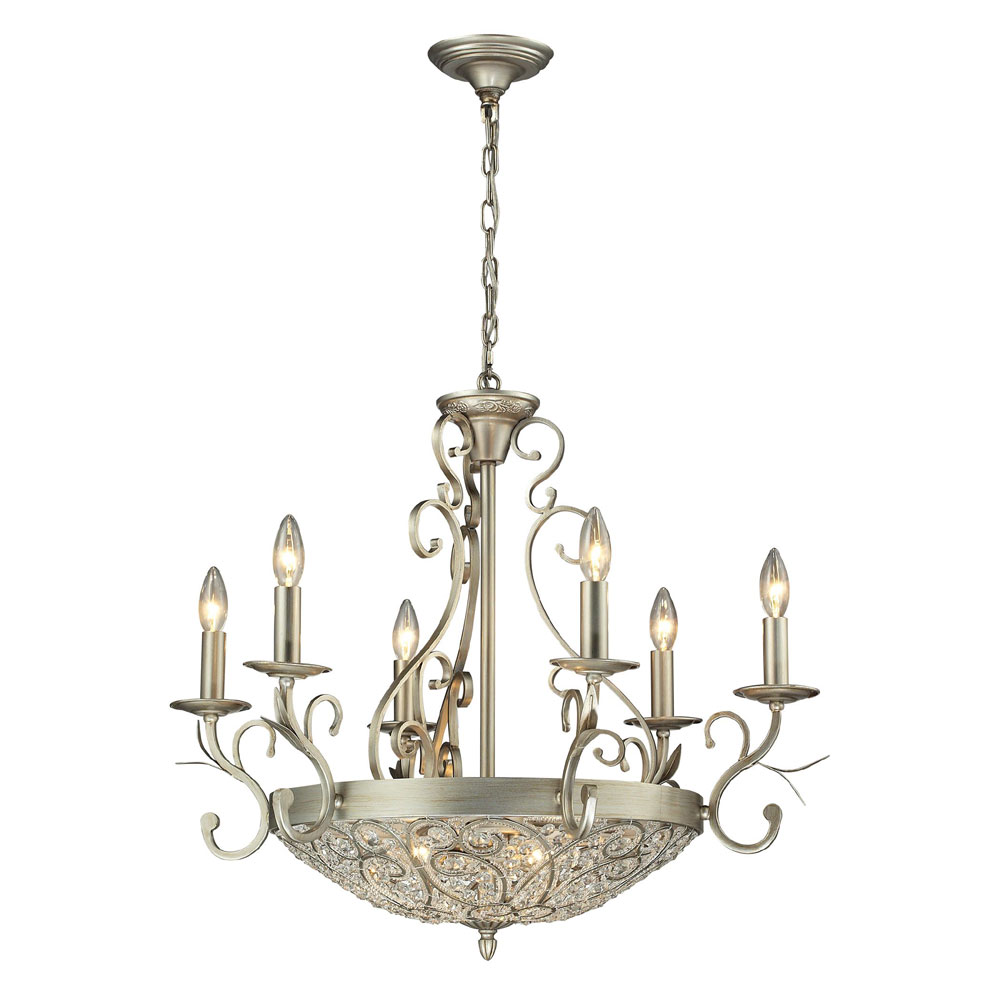 Elk Lighting Andalusia: ELK 11696-6-3 Andalusia Aged Silver Ceiling Chandelier