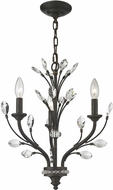 ELK 11774-3 Crystal Branches Burnt Bronze Mini Chandelier Light
