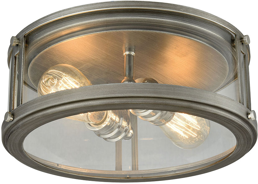 ELK 11880 2 Coby Modern Weathered Zinc Polished Nickel Flush Mount Lighting  Fixture. Loading Zoom