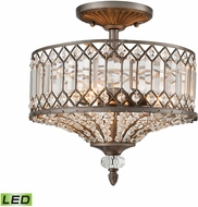 ELK 11885-3-LED Paola Weathered Zinc LED Flush Mount Ceiling Light Fixture