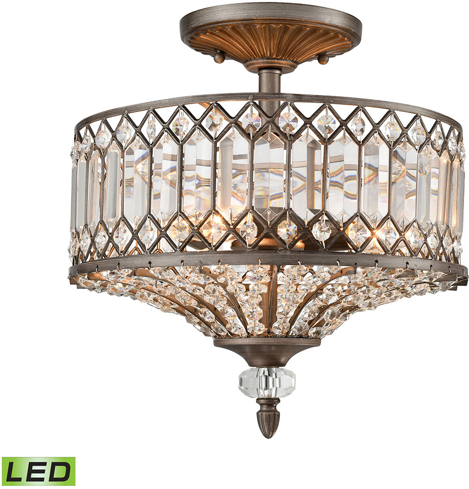 ELK 11885 3 LED Paola Weathered Zinc LED Flush Mount Ceiling Light Fixture.  Loading Zoom