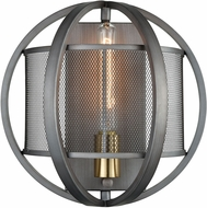 ELK 12170-1 Ellicott Contemporary Weathered Zinc / Satin Brass Lamp Sconce