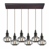 ELK 14191-6RC Yardley Retro Oil Rubbed Bronze Multi Pendant Lighting Fixture