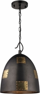ELK 14291-1 Strasburg Contemporary Weathered Iron/Antique Gold Mini Pendant Lighting