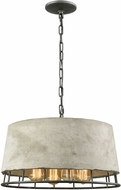 ELK 14319-4 Brocca Contemporary Silverdust Iron Drum Pendant Lighting Fixture