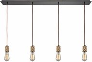 ELK 14391-4LP Camley Modern Polished Gold Oil Rubbed Bronze Multi Hanging Pendant Light