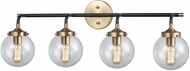 ELK 14429-4 Boudreaux Modern Matte Black / Antique Gold 4-Light Bathroom Light