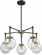 ELK 14437-5 Boudreaux Contemporary Matte Black / Antique Gold Mini Ceiling Chandelier