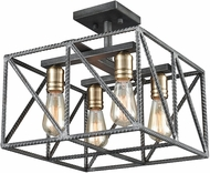 ELK 15252-4 Crossbar Contemporary Silverdust Iron / Satin Brass Flush Mount Lighting