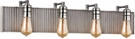 ELK 15923-4 Corrugated Steel Modern Weathered Zinc Polished Nickel 4-Light Bath Lighting Sconce