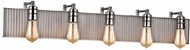 ELK 15924-5 Corrugated Steel Contemporary Weathered Zinc Polished Nickel 5-Light Bathroom Wall Light Fixture