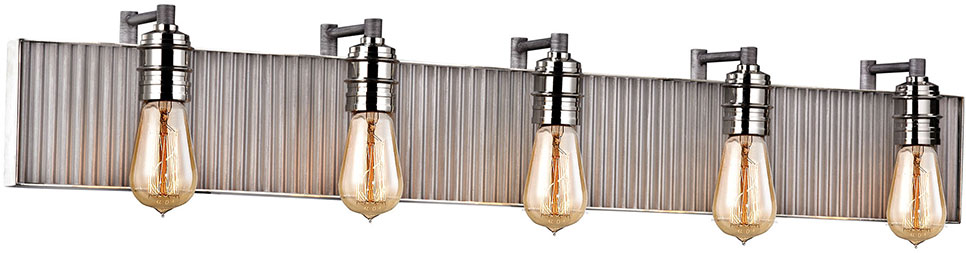 Good ELK 15924 5 Corrugated Steel Contemporary Weathered Zinc Polished Nickel 5 Light  Bathroom Wall. Loading Zoom