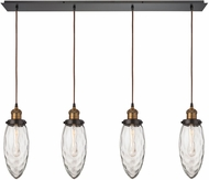 ELK 16310-4LP Owen Contemporary Oil Rubbed Bronze Antique Brass Multi Hanging Lamp
