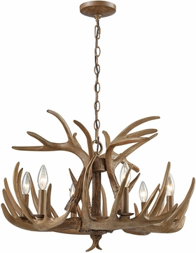 ELK 16315-6 Elk Country Wood Brown Ceiling Chandelier