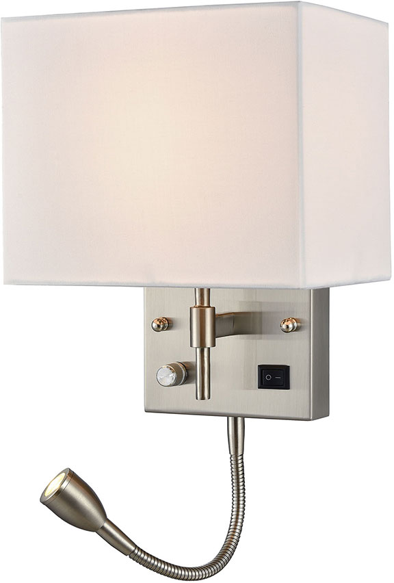 ELK 17157 2 Sconces Contemporary Satin Nickel LED Wall Sconce Lighting W/  LED Reading. Loading Zoom