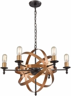 ELK 21136-6 Kingston Contemporary Oil Rubbed Bronze / Brushed Antique Brass Hanging Chandelier
